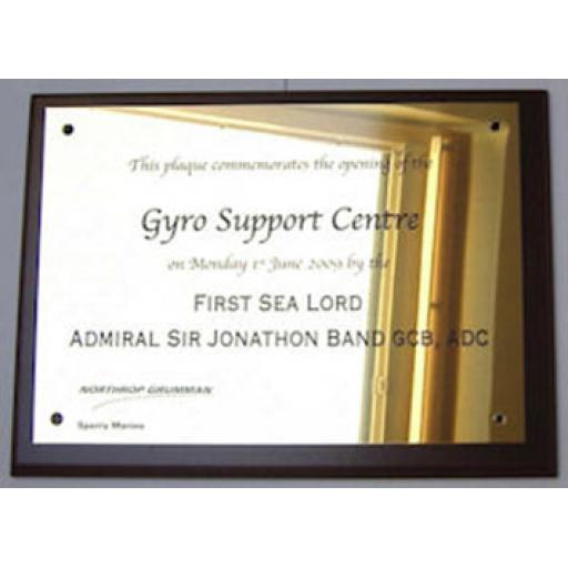 Brass plaque with logo